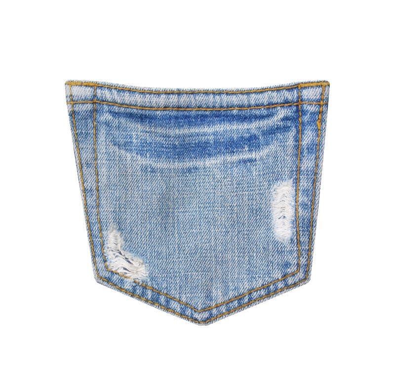 Tillbaka jeans stoppa i fickan textur med rivit sönder, hålet, och vita trådar förstörde modeller på grov bomullstvill som isoler royaltyfri fotografi