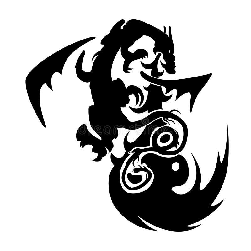 Tillbaka och vita vektorillustrationer stam- drake Svartvit draketatuering royaltyfri illustrationer
