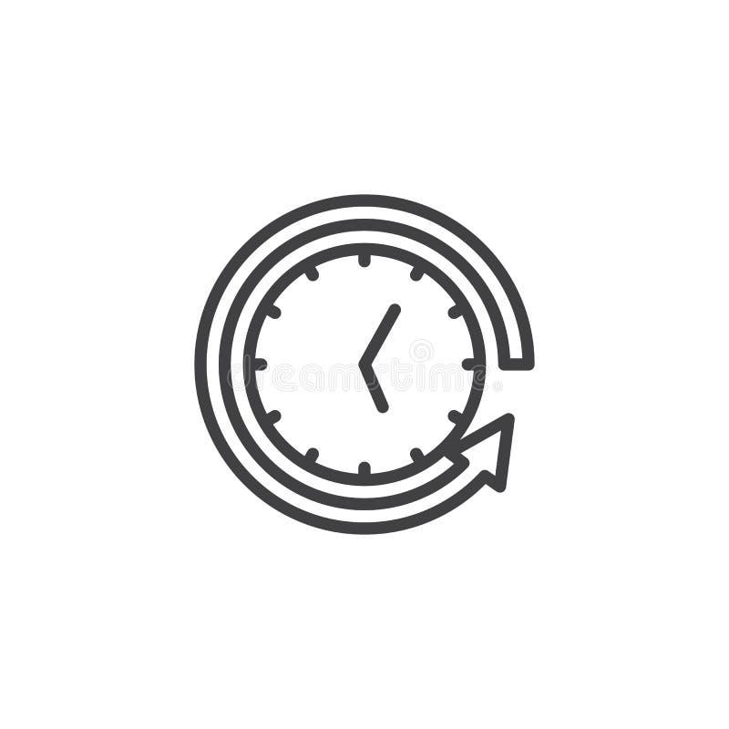 Tillbaka pil runt om klockaöversiktssymbol vektor illustrationer