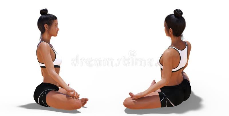 Tillbaka poserar tre fjärdedelar och den högra profilen av en kvinna i lätt yoga poserar stock illustrationer