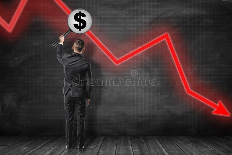 Tillbaka sikt av affärsmannen som rymmer det stora förstoringsglaset med bild av dollarsymbolet nära den röda grafpilen som ner p stock illustrationer
