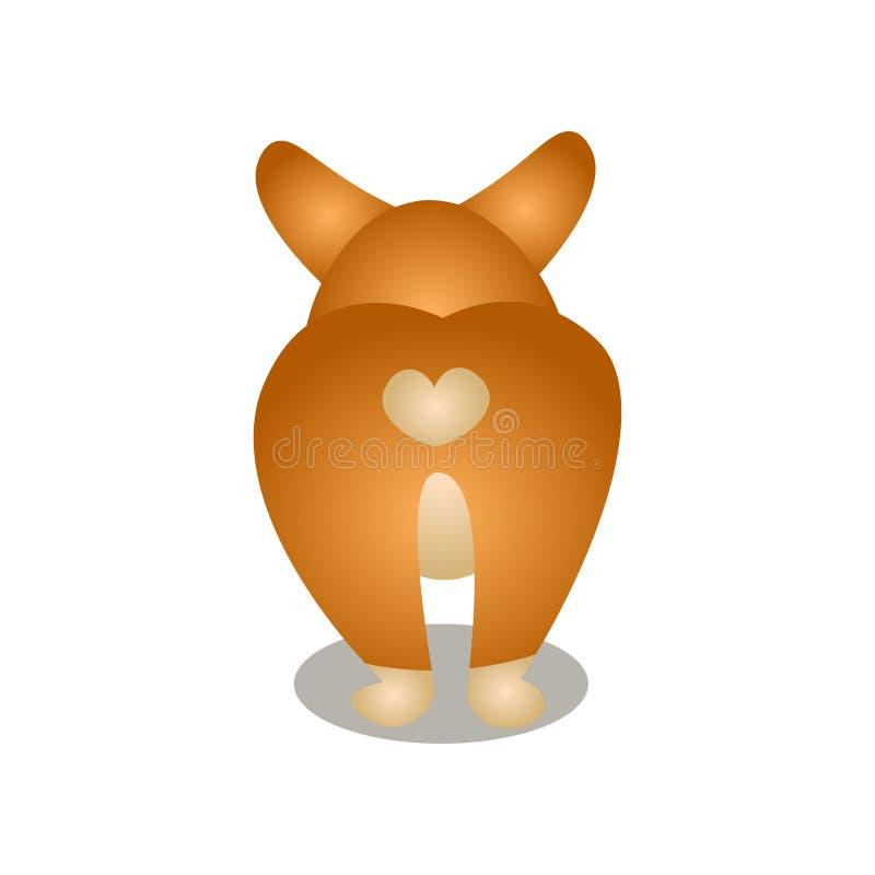 Tillbaka sikt av den gulliga corgihunden med hjärtaform vektor illustrationer