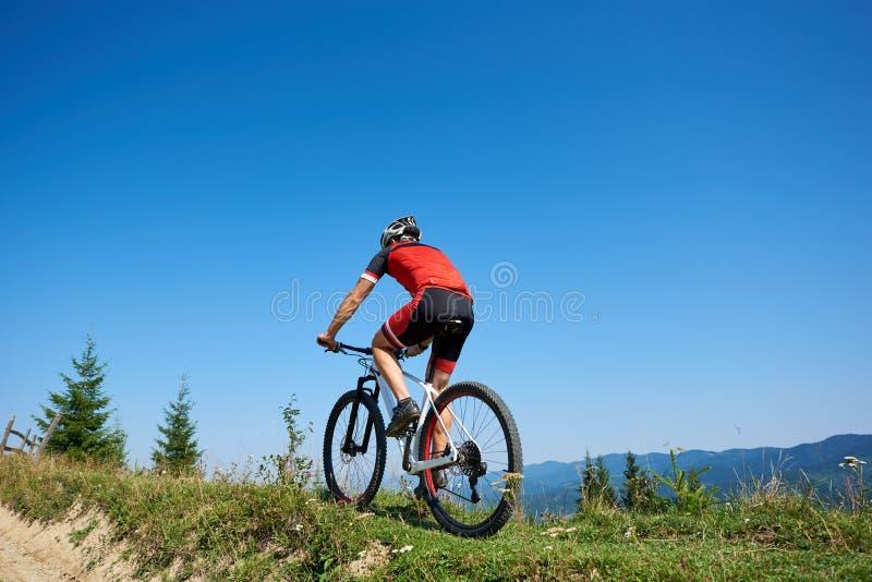 Tillbaka sikt av den idrotts- turist- cyklisten i hjälm och full utrustning som cyklar cykeln upp den gräs- kullen arkivbild