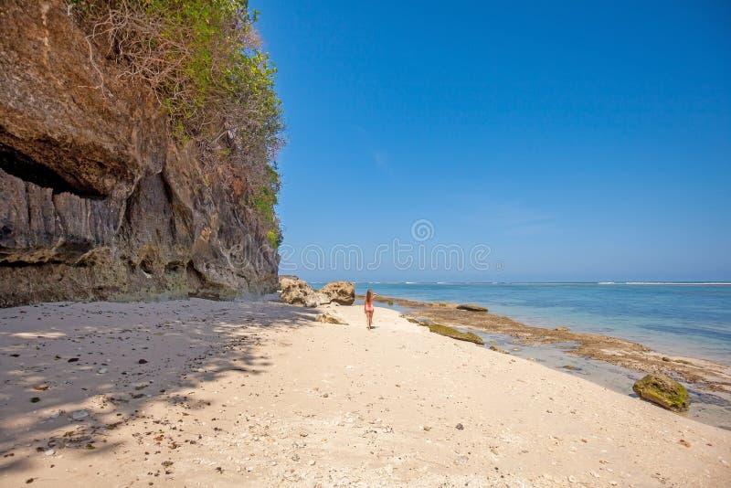 Tillbaka sikt av den unga kvinnan i rosa baddräkt på stranden fotografering för bildbyråer