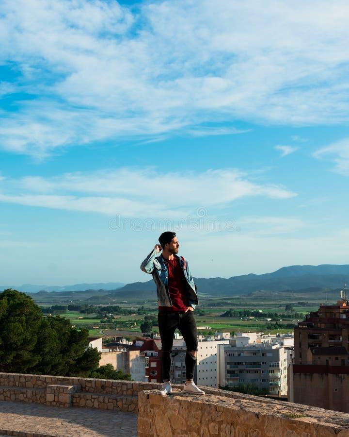 Tillbaka sikt av den unga mannen som ser staden fr?n slotttak royaltyfria bilder