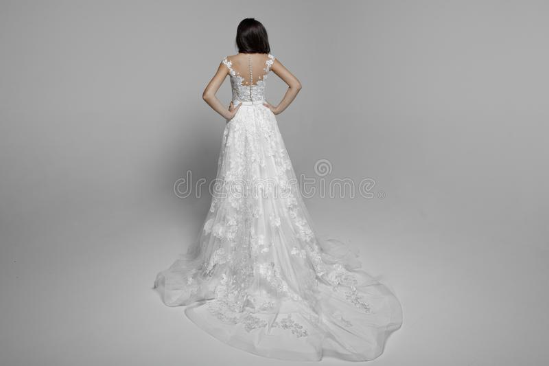 Tillbaka sikt av en sinnlig kvinnabrunett i den vita delikata prinsessabröllopsklänningen som isoleras på en vit bakgrund arkivbilder