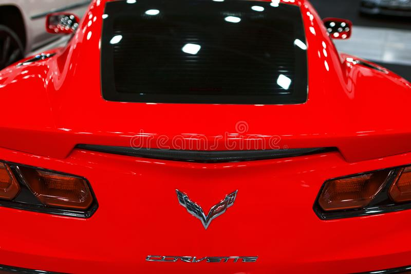 Tillbaka sikt av ett röda Chevrolet Corvette Z06 Bilyttersidadetaljer royaltyfri bild
