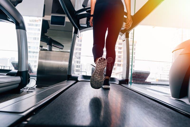 Tillbaka sikt av fot med gymnastikskor av den kvinnliga löparen/joggeren som inomhus kör på trampkvarnen i handling fotografering för bildbyråer
