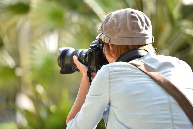 Tillbaka sikt av fotografen med reflexkameran fotografering för bildbyråer