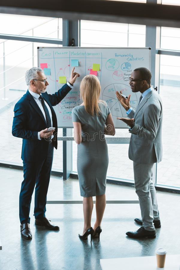tillbaka sikt av yrkesmässiga multietniska kollegor som diskuterar affärsdiagram och grafer royaltyfri bild