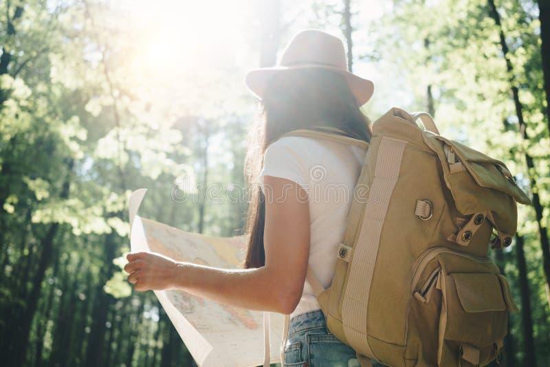 Tillbaka sikt på gullig ung kvinna med hatten, ryggsäcken och lägeöversikten i hand bland träd i skog på solnedgången royaltyfria bilder