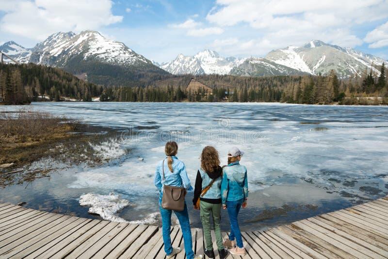 Tillbaka sikt på tre kvinnliga turister som blir vid djupfryst bergla royaltyfria bilder