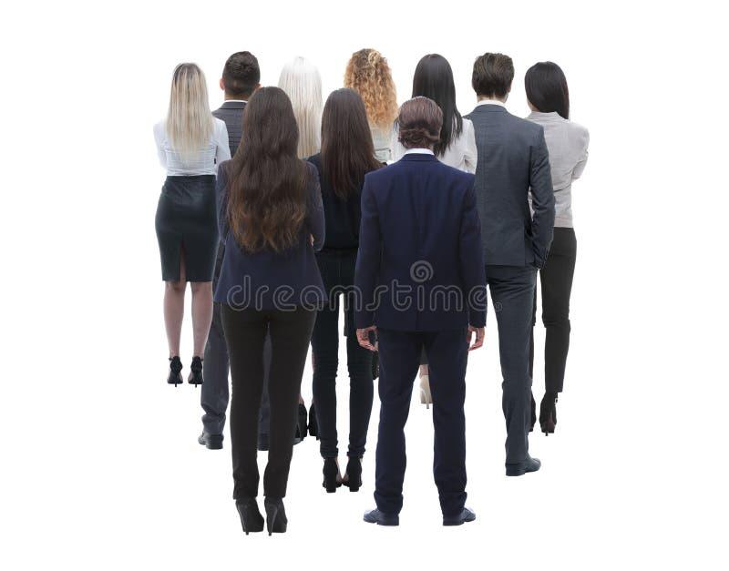 Tillbaka siktsgrupp av affärsfolk isolated rear view white Isolerat över vitbakgrund royaltyfria bilder