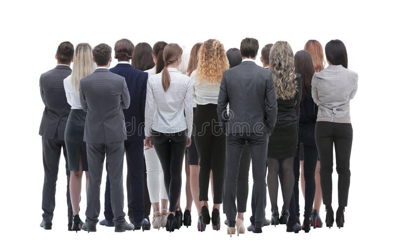 Tillbaka siktsgrupp av affärsfolk isolated rear view white Isolerat över vitbakgrund arkivfoton