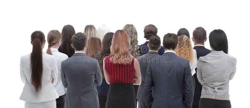 Tillbaka siktsgrupp av affärsfolk isolated rear view white Isolerat över vitbakgrund arkivfoto