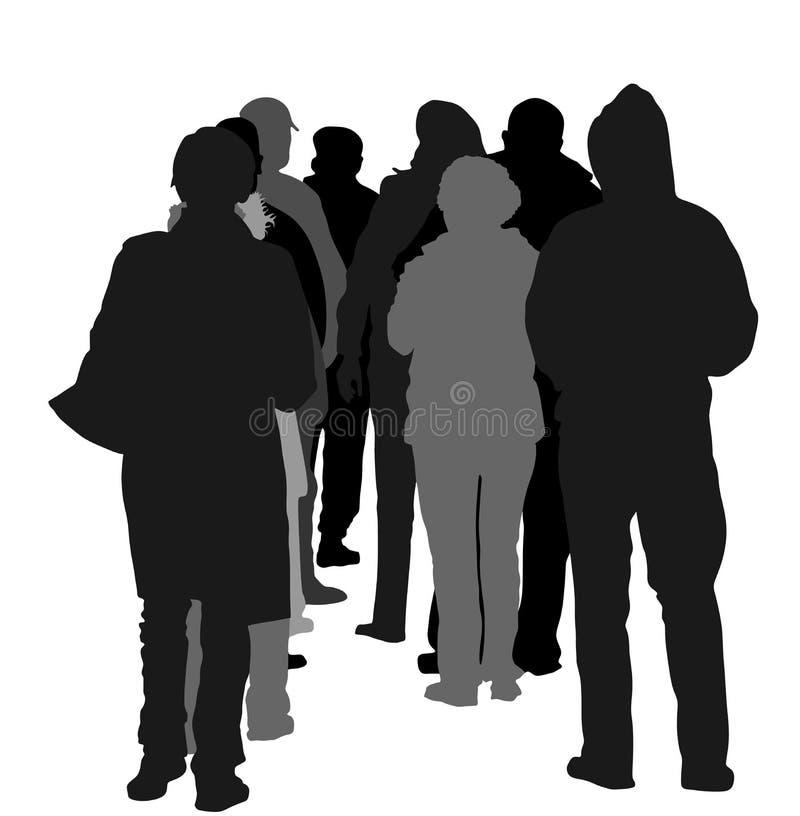 Tillbaka siktsgrupp människor som väntar i linjen kontur stock illustrationer