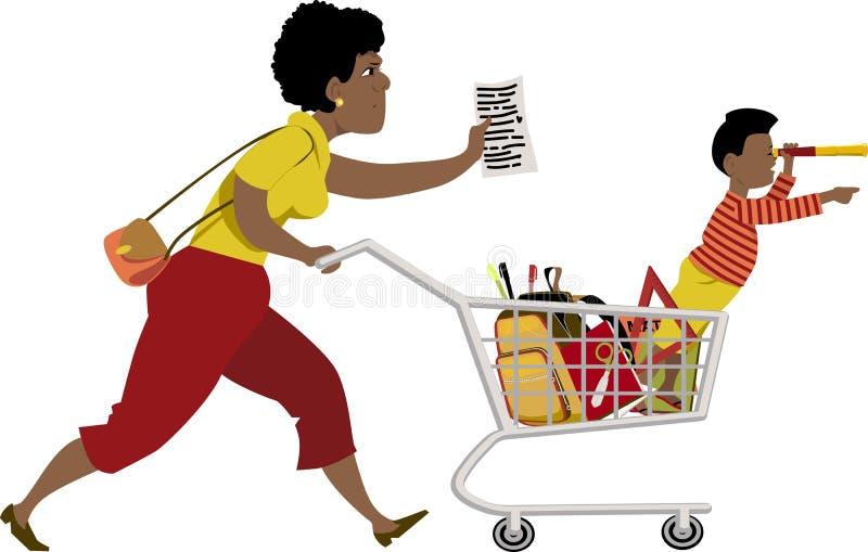 tillbaka skola som shoppar till royaltyfri illustrationer