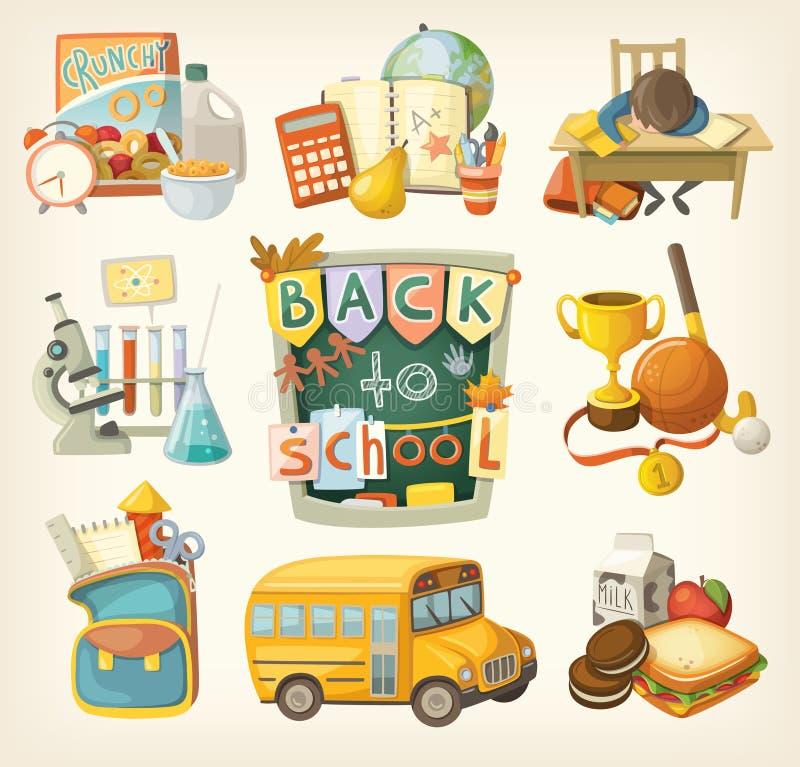 tillbaka skola som ställs in till stock illustrationer
