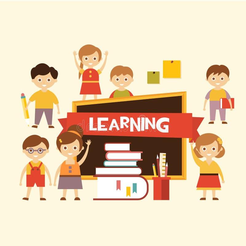 tillbaka skola till Älskvärda barn lär royaltyfri illustrationer