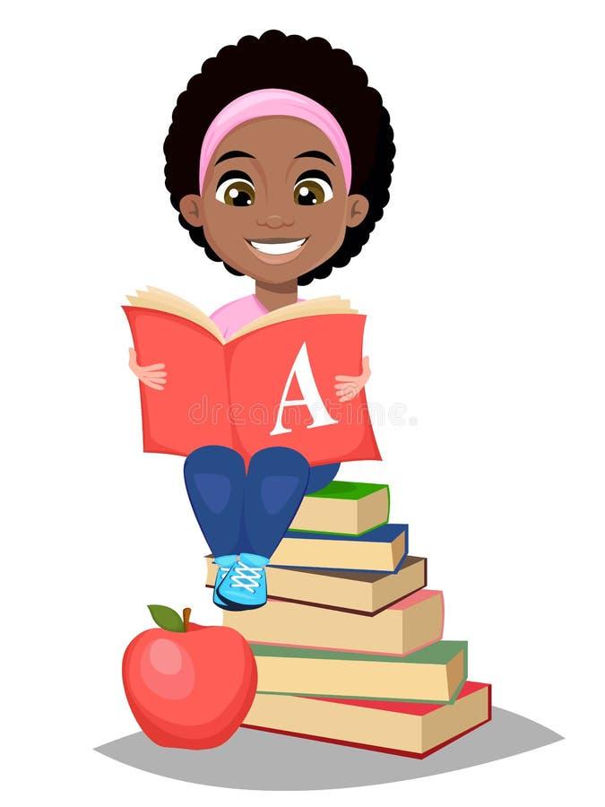 tillbaka skola till Abc-bok och sitti för gullig Afro--amerikan flicka hållande vektor illustrationer