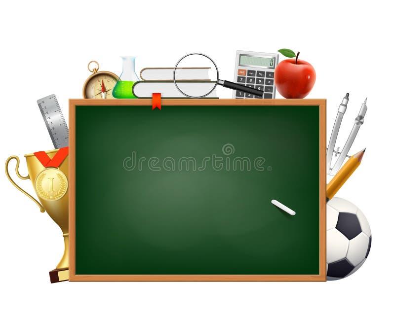 tillbaka skola till Bakgrund med en svart tavla och en krita Tillbehör för studie och utbildning stock illustrationer