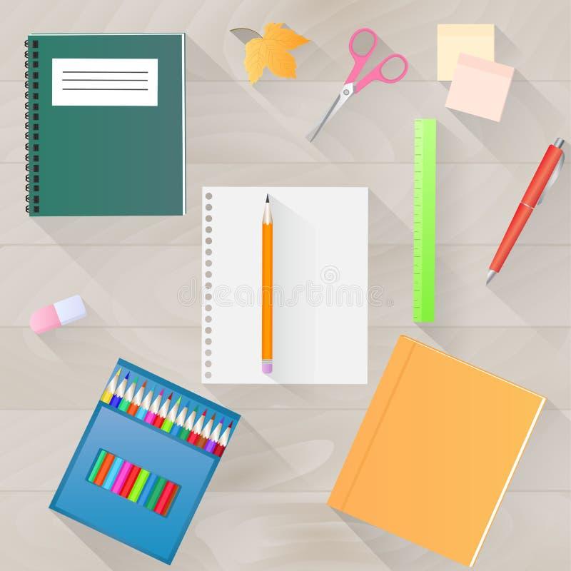 tillbaka skola till En uppsättning av brevpapper med en lång skugga Skrivbords- bästa sikt stock illustrationer
