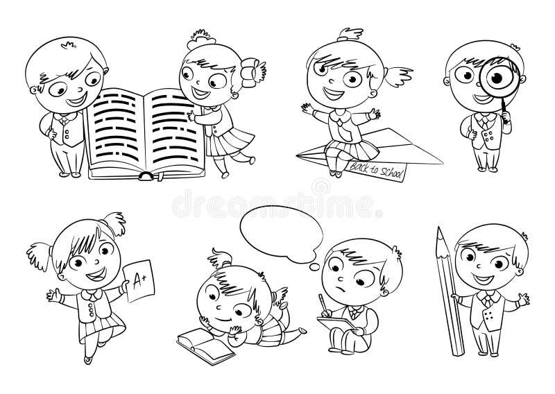 tillbaka skola till för färgläggningdiagram för bok färgrik illustration vektor illustrationer