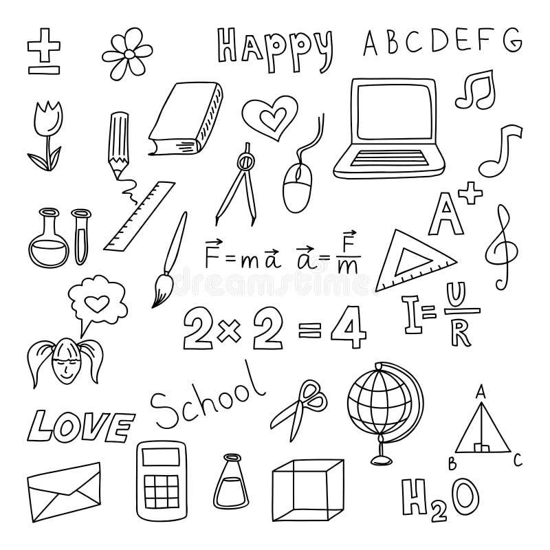 tillbaka skola till Fastställda klotterelenents Equpment för handattraktionkontor stock illustrationer