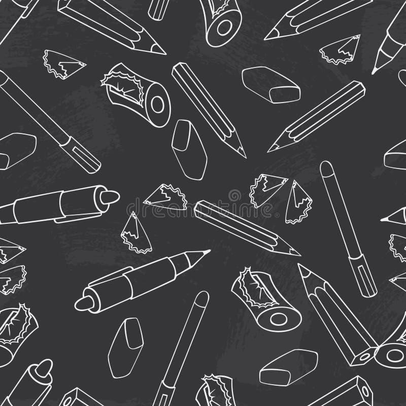 tillbaka skola till Grön svart tavlavektor Sömlös modellbakgrund för svart tavla Blyertspenna, penna, vässare och brevpapper royaltyfri illustrationer