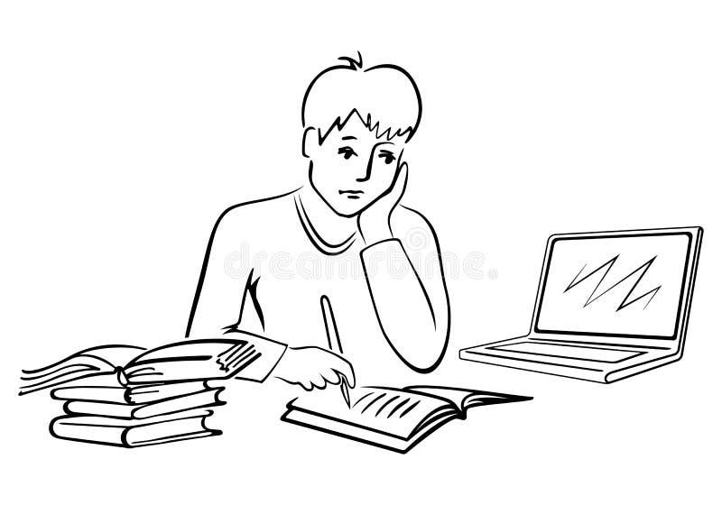 tillbaka skola till Gullig liten skolapojke som skriver i anteckningsbok vektor illustrationer
