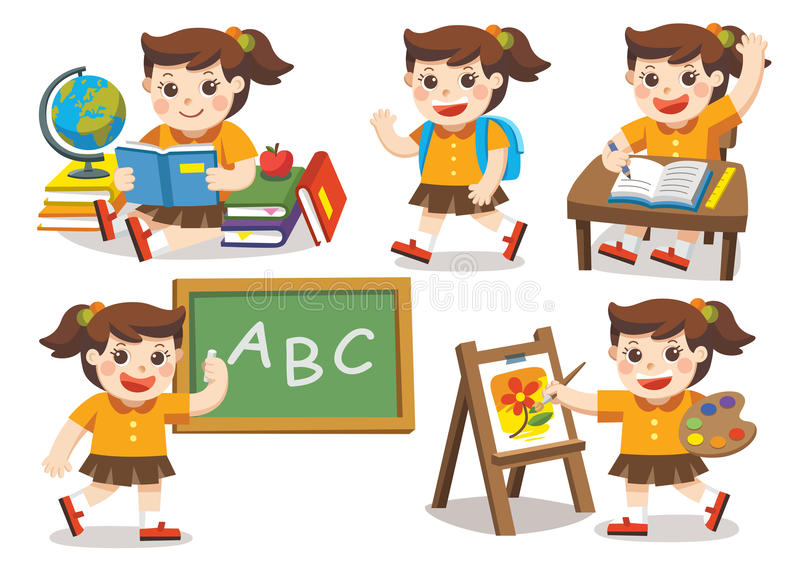 tillbaka skola till Gulliga barn har gyckel vektor illustrationer