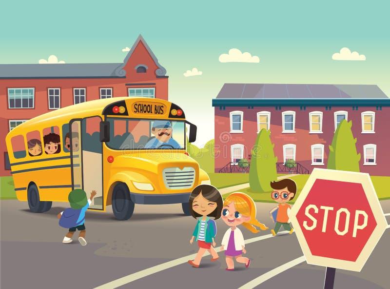 tillbaka skola till Illustration som visar skolbussstoppet stock illustrationer