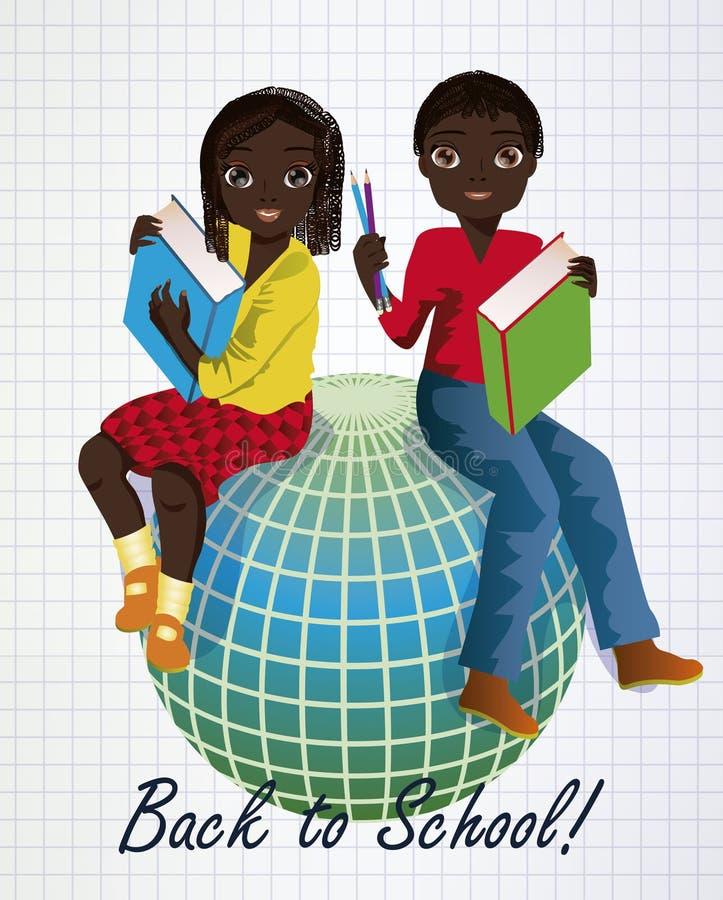 tillbaka skola till Liten afrikansk flicka och pojke med jordklotet stock illustrationer