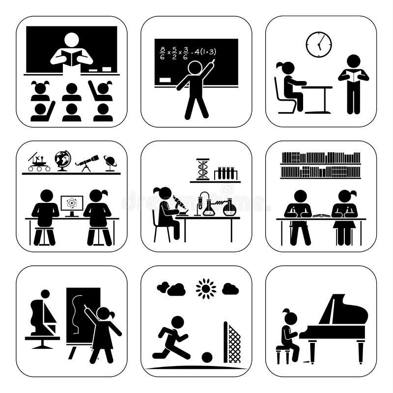 tillbaka skola till Pictogramsymbolsuppsättning Skoladagar stock illustrationer