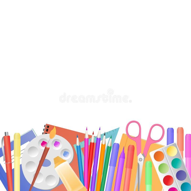 tillbaka skola till Skolatillförsel för att undervisa och barn kreativitet för ` s stock illustrationer