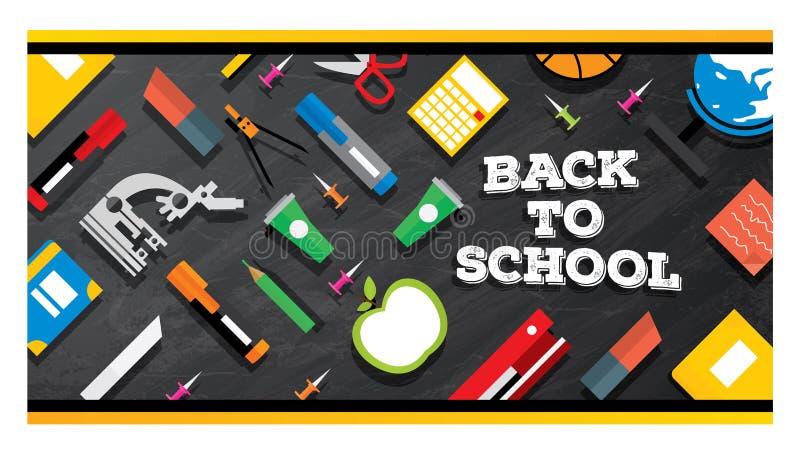 tillbaka skola till Skolatillförsel på svart tavlabakgrund stock illustrationer