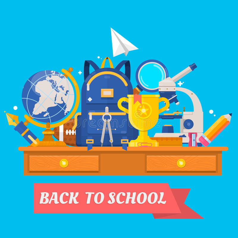 tillbaka skola till Utbildning i skolabegreppsbakgrunden Ryggsäck boll, jordklot, mikroskop, loupe, vässare vektor vektor illustrationer