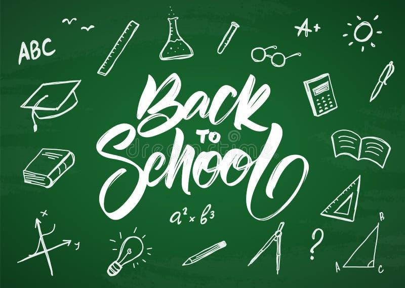 tillbaka skola till Vektorhälsningkort med hand drog doddlestillförsel på svart tavlabakgrund royaltyfri illustrationer