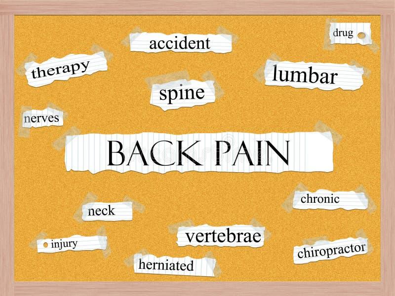 Tillbaka smärta det Corkboard ordbegreppet stock illustrationer