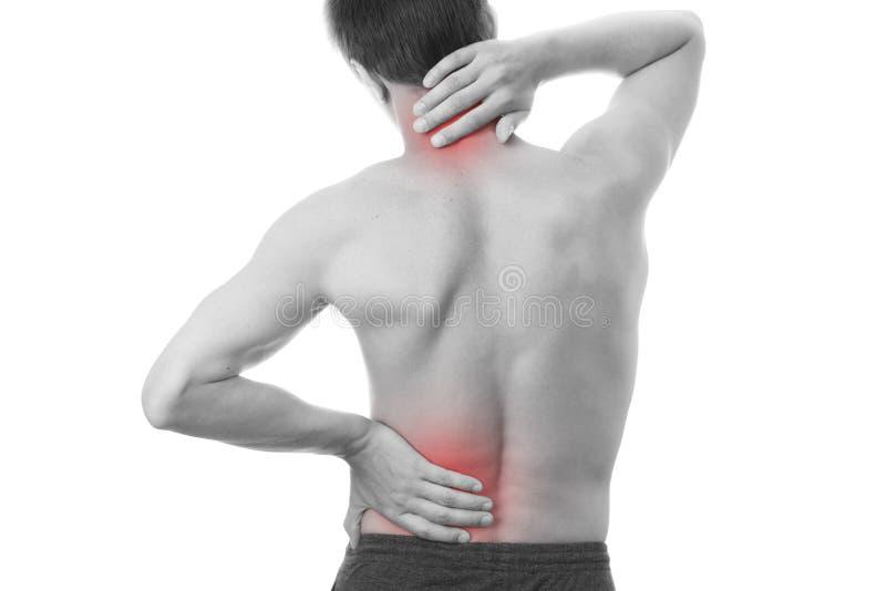 Tillbaka smärta i män royaltyfri fotografi