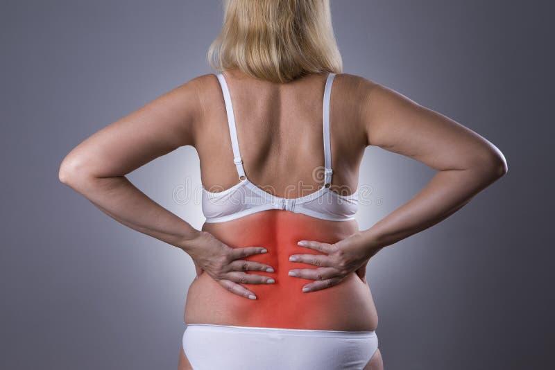 Tillbaka smärta, njureinflammation, knip i kropp för kvinna` s arkivfoto