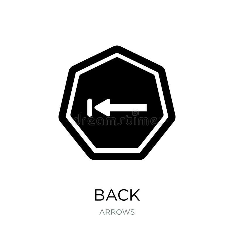 tillbaka symbol i moderiktig designstil Tillbaka symbol som isoleras på vit bakgrund enkelt och modernt plant symbol för tillbaka stock illustrationer