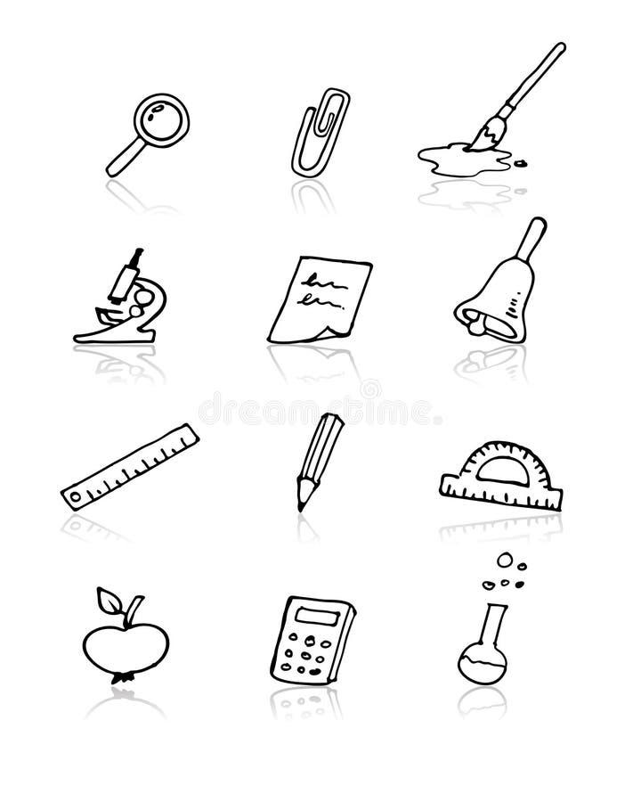 tillbaka symbolsskola som ställs in till stock illustrationer