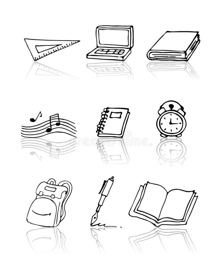 tillbaka symbolsskola som ställs in till royaltyfri illustrationer
