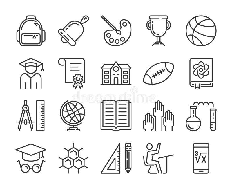 tillbaka symbolsskola till Utbildning och l?ralinje symbolsupps?ttning Redigerbar slagl?ngd stock illustrationer