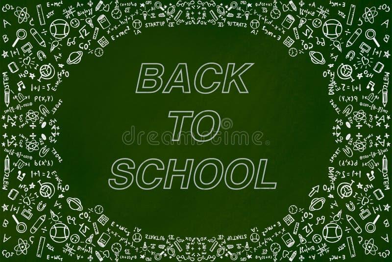 Tillbaka till begreppet för bakgrund för skolaklotterillustration på den gröna svart tavlan royaltyfri illustrationer