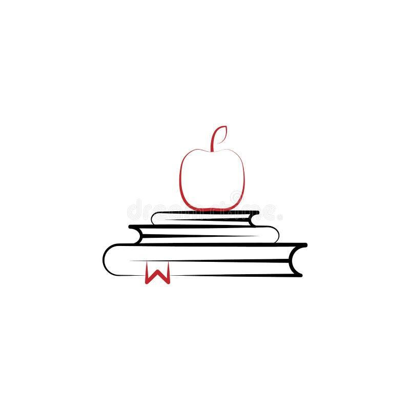 tillbaka till den kulöra linjen symbol för skola 2 Enkel kulör beståndsdelillustration tillbaka till designen för skolaöversiktss stock illustrationer
