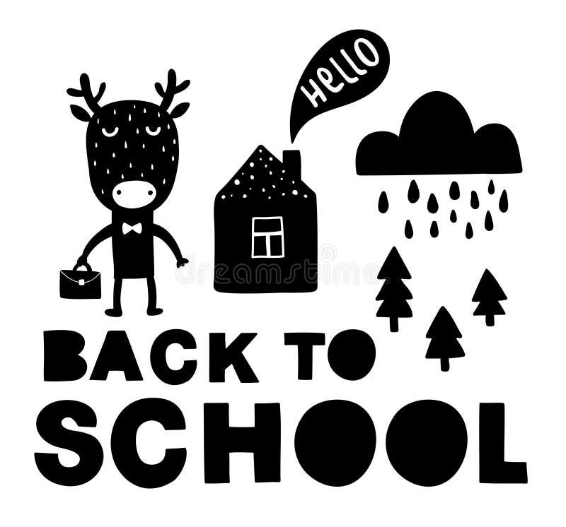 Tillbaka till den traditionella affischen för skola med det gulliga djuret för hjortar Vektorillustration i svartvit scandinavian vektor illustrationer
