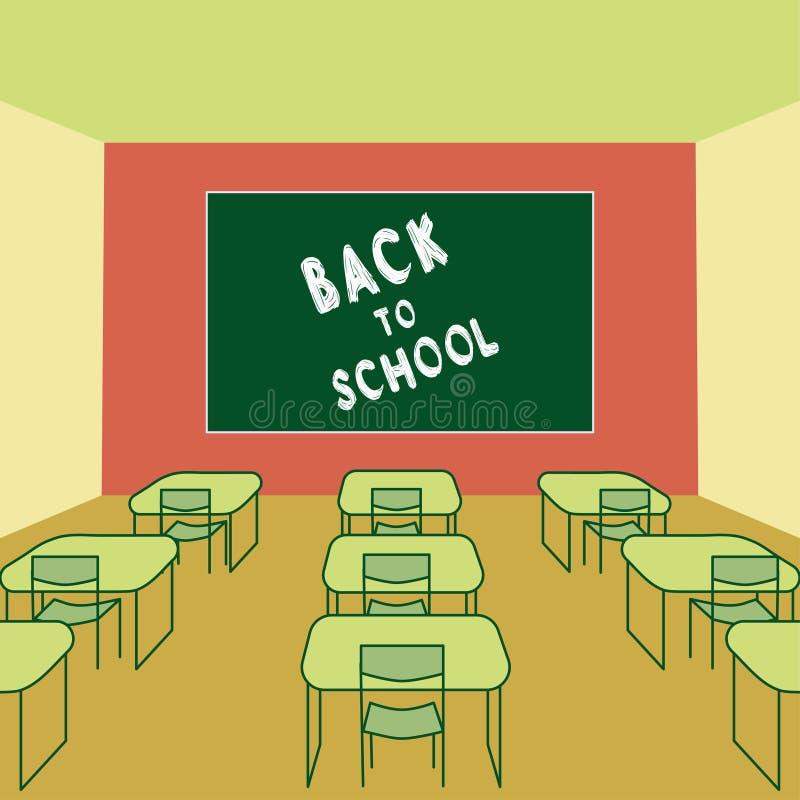 Tillbaka till dra krita för skolatext i svart tavlaklassrumet som är inre med skolaskrivbord och stolar vektor illustrationer