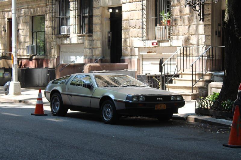 Tillbaka till framtid i New York royaltyfria bilder